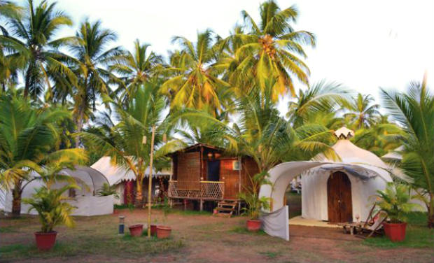 Luxury in the wilds Set next to a river, amid a lush coconut grove, the Yantra tents at glamping resort The Mandala in Goa have hand-carved wooden beds, a bathroom area with fittings worthy of a five-star hotel. In peak tourist season, the tents are