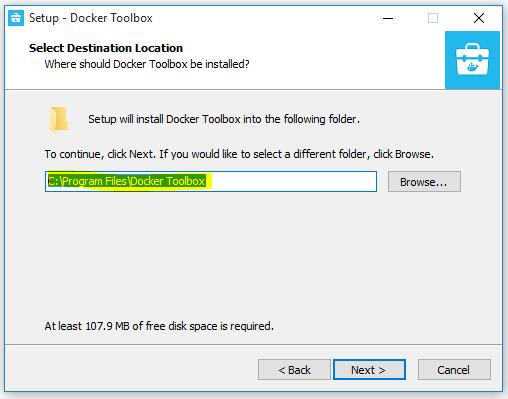 Docker - Installation in default drive