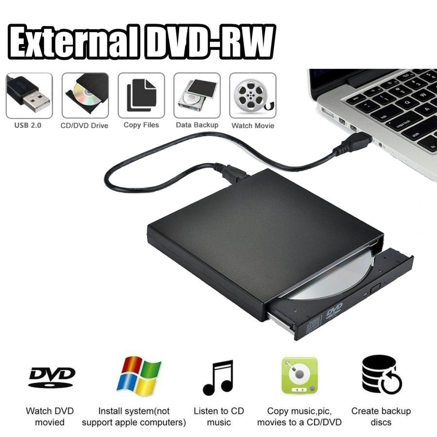 External DVD 2.0 Portable Optical Drive Writer Burner Rewriter