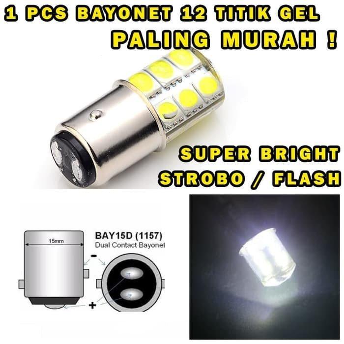 LAMPU LED REM 1157 STROBO T20 12 MATA BAYONET PUTAR 2 KAKI – PUTIH