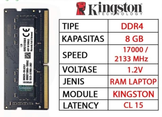 RAM LAPTOP KINGSTON DDR4 8GB 2133 MHz 17000 ORI GAMING RAM NB DDR4 8GB