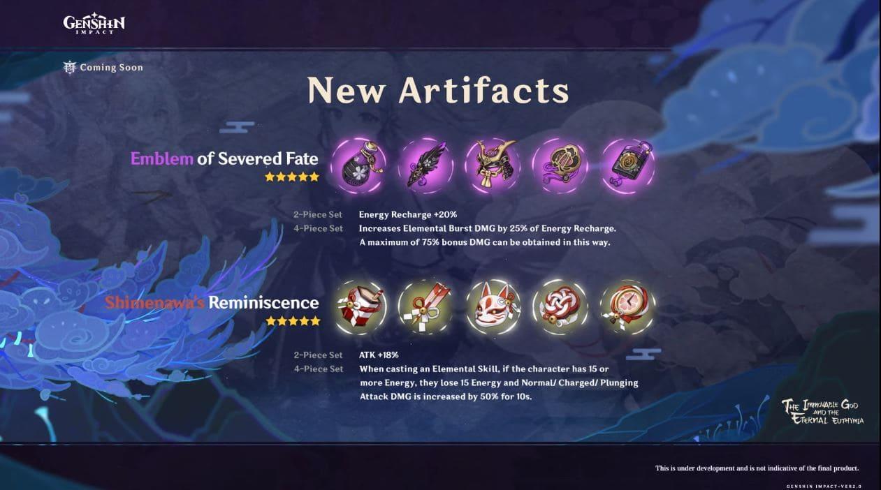 genshin impact 2.0 New artifacts