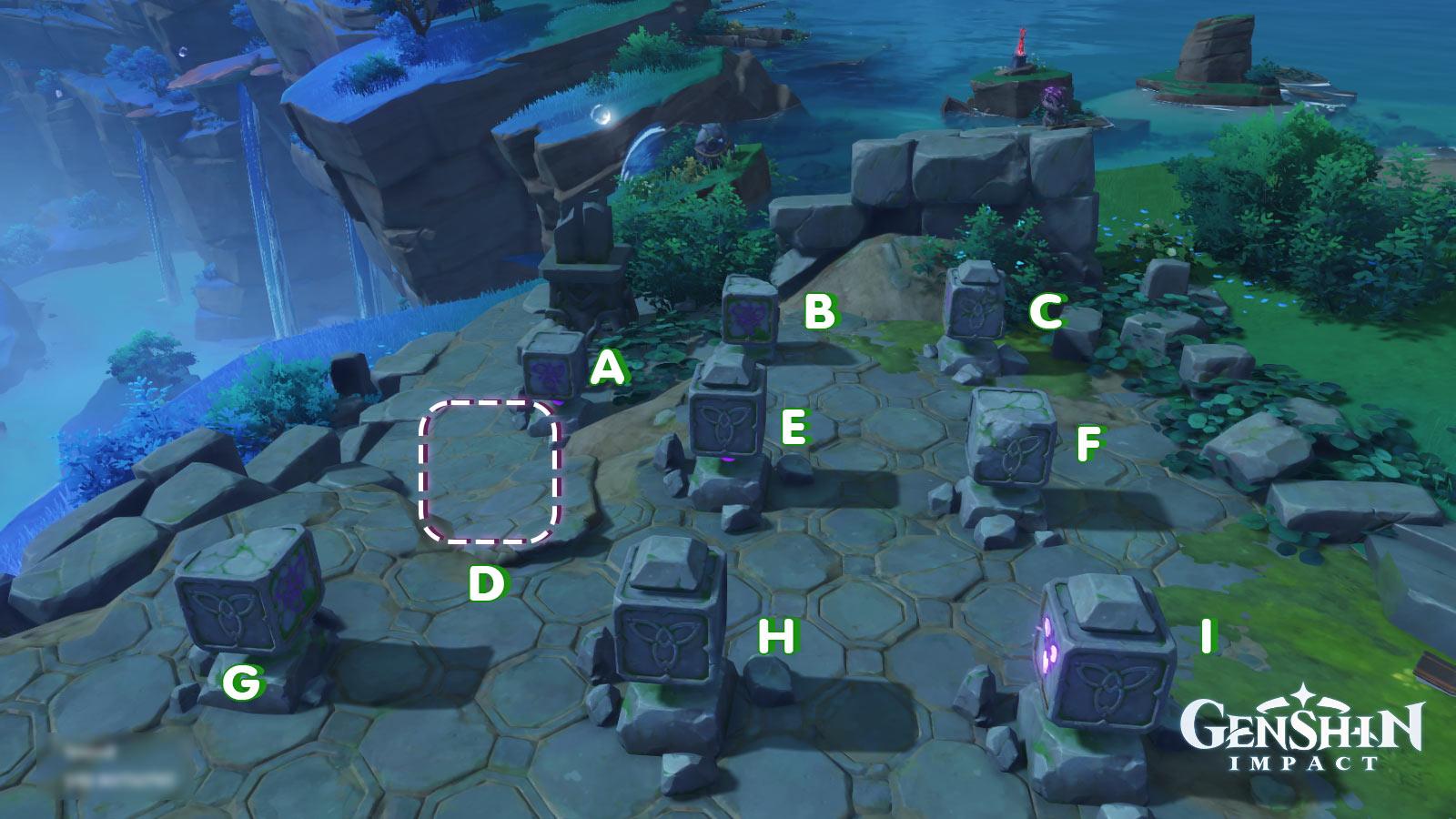 Genshin Impact ปริศนาแท่นหิน 9 ช่อง