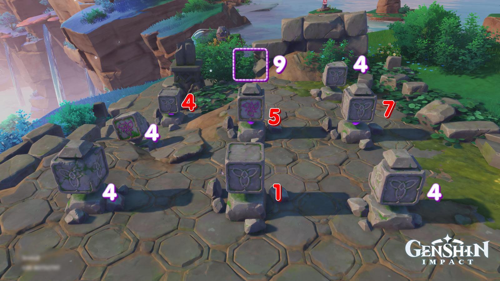 Genshin Impact ปริศนาแท่นหิน 9 ช่อง รูปแบบที่ 2