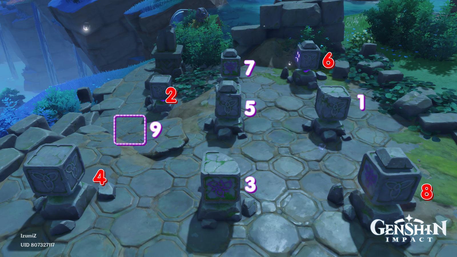 Genshin Impact ปริศนาแท่นหิน 9 ช่อง รูปแบบที่ 3