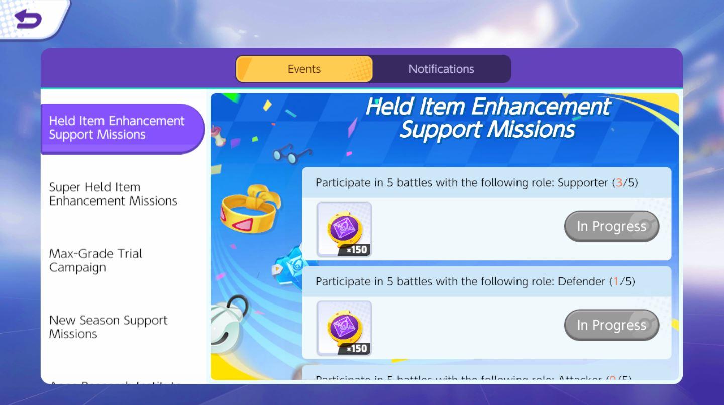 Pokemon Unite กิจกรรม Held Item Enhancement Support Missions