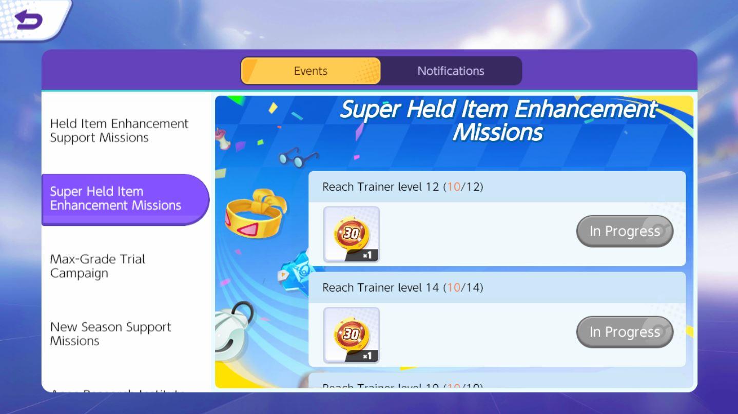 Pokemon Unite กิจกรรม Super Held Item Enhancement Missions