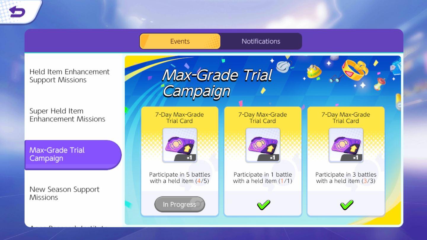 Pokemon Unite กิจกรรม Max-Grade Trial Campaign