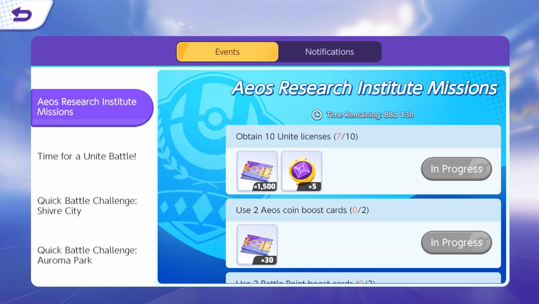 Pokemon Unite กิจกรรม Aeos Research Institute Missions