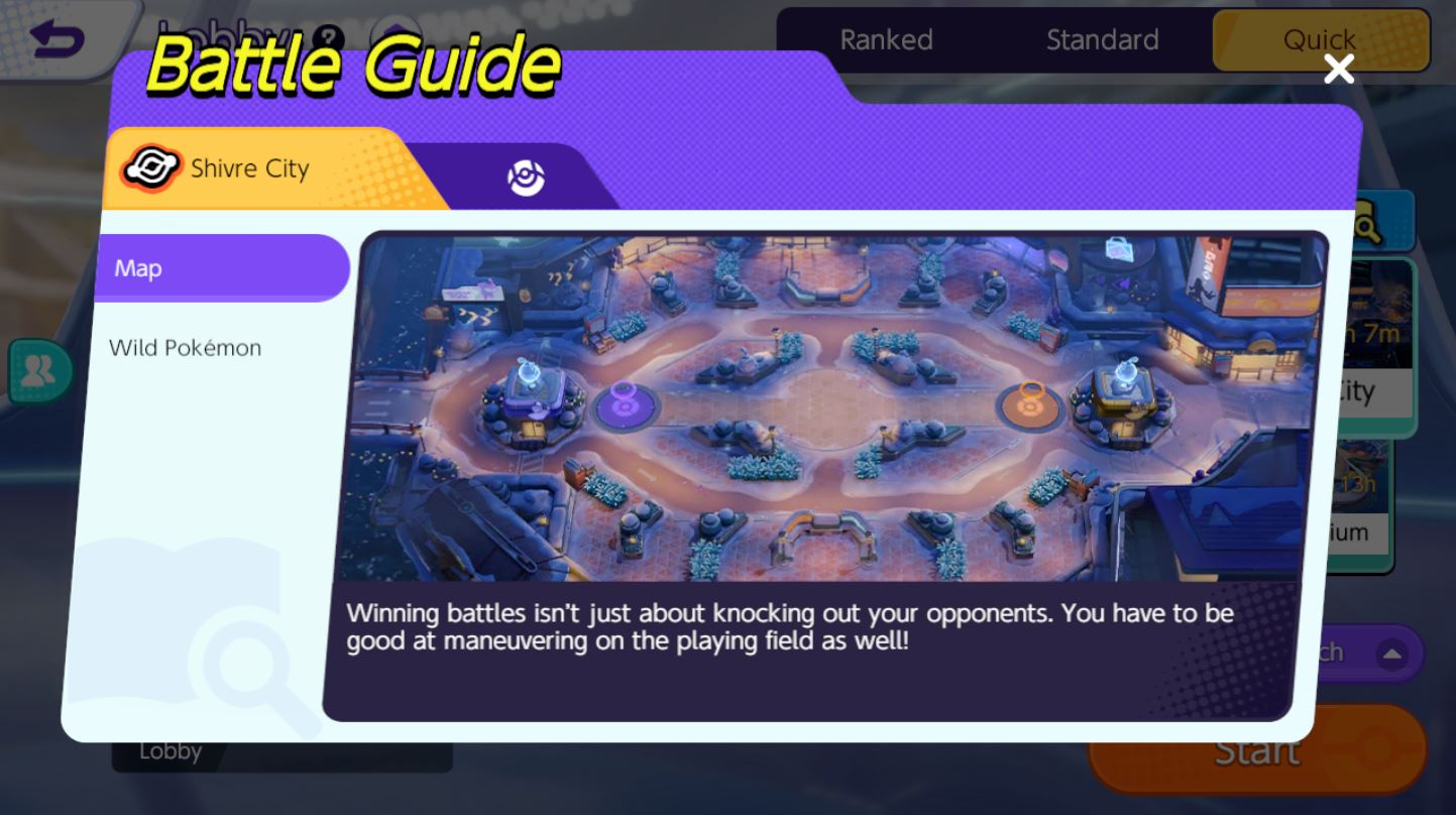 Pokemon Unite กิจกรรม Quick Battle Challenge ด่าน Shivre City