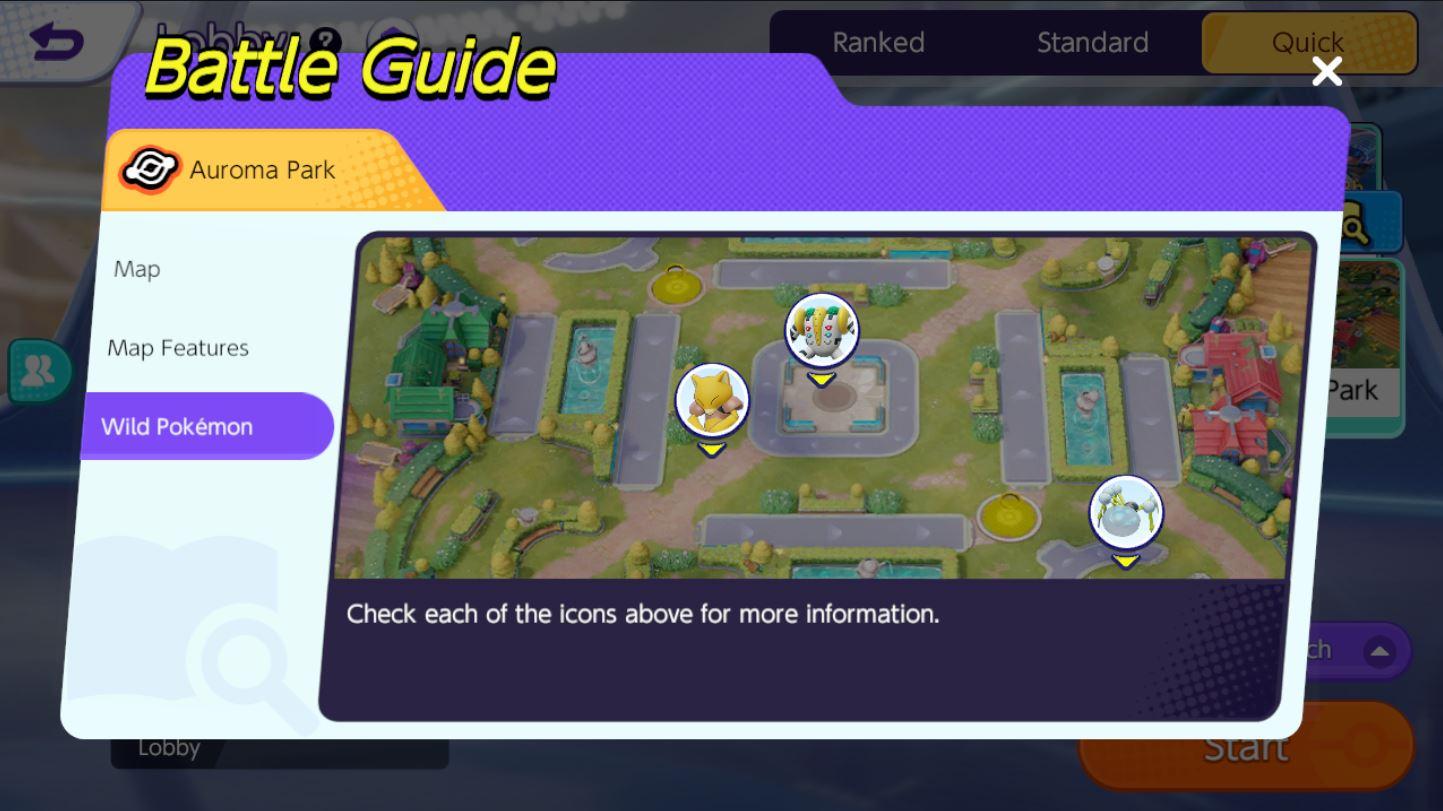Pokemon Unite กิจกรรม Quick Battle Challenge ด่าน Auroma Park