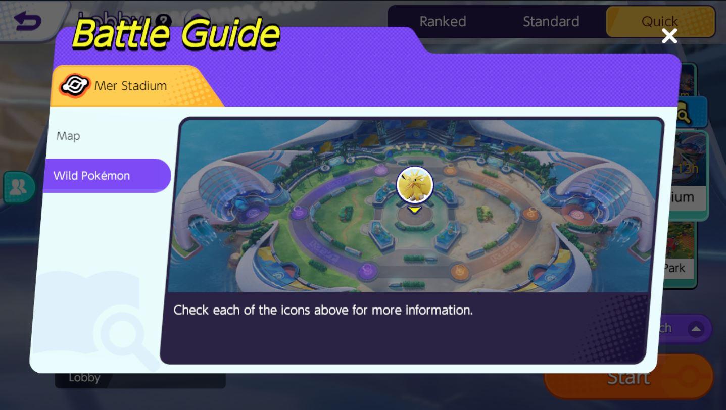 Pokemon Unite กิจกรรม Quick Battle Challenge ด่าน Mer Stadium