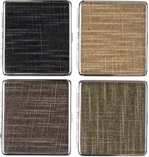 Cigarette case Canvas chrome frame assorted f.20 cigs.with rubber band inside in tray of 4(606636)#1.jpg