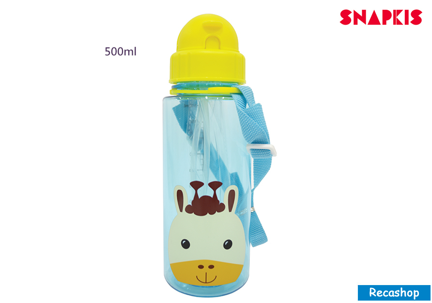 SNAPKIS STRAW WATER BOTTLE GIRAFFE 500ML.jpg