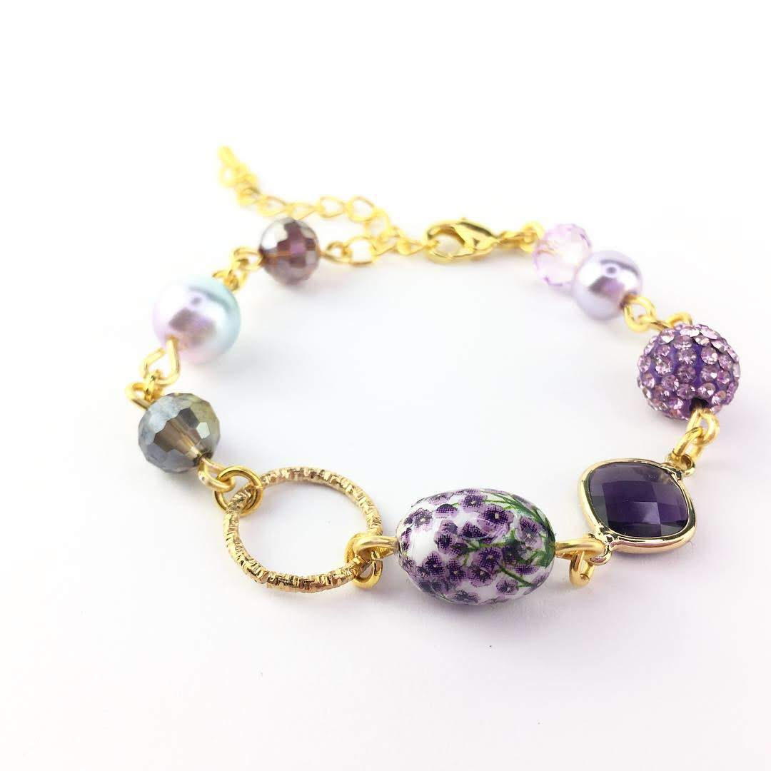 Ayra in Purple Floral Tensha Beaded Bracelet Gold Plated