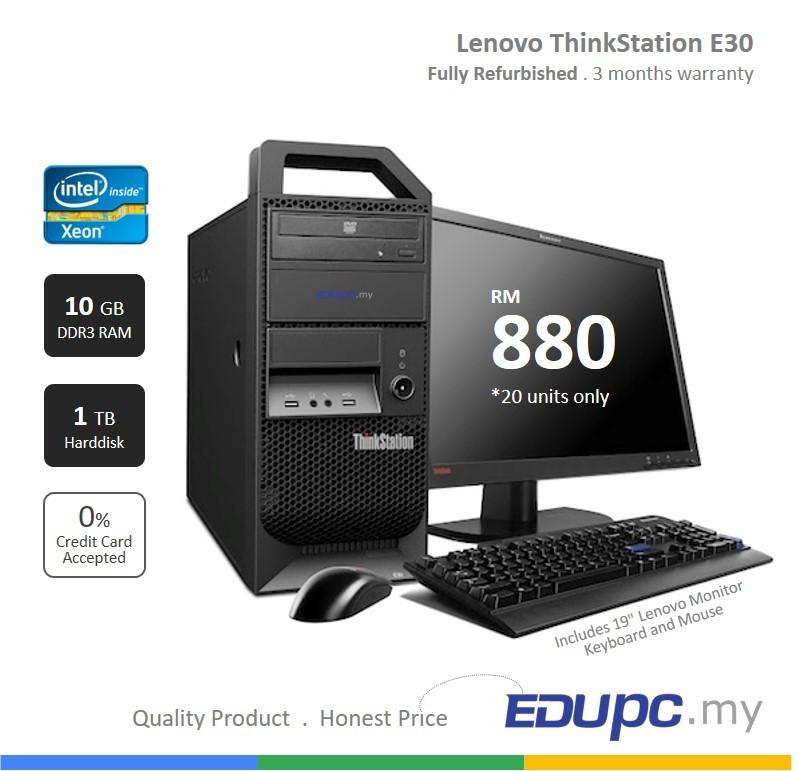 Lenovo ThinkStation Intel XEON E3-1270 10GB RAM 1TB HDD 19 inch Monitor.jpg