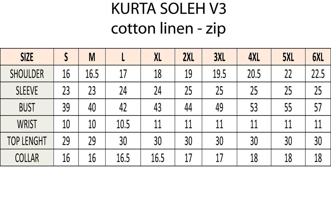 ukuran kurta soleh v3