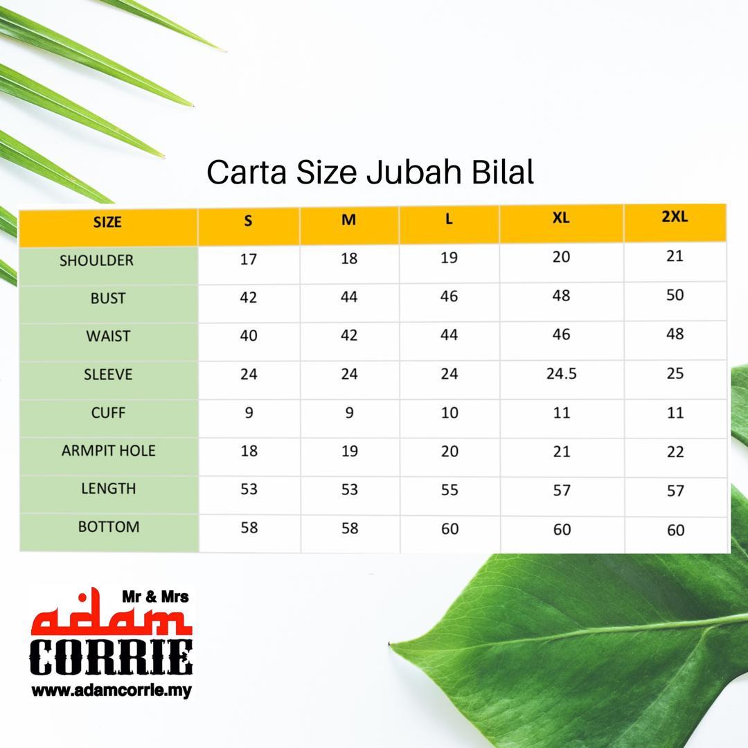 CARTA SIZE JUBAH BILAL