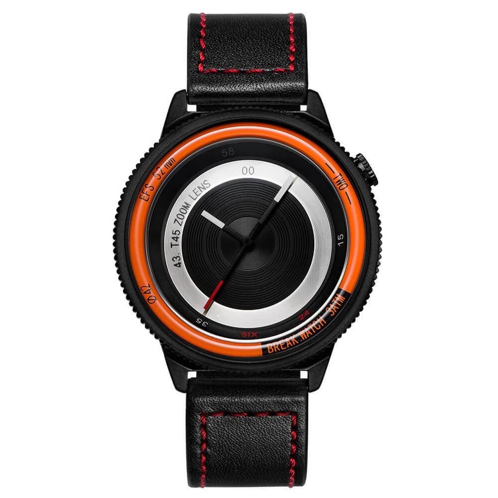 Lens Orange Break Watches Black red Leather Straps.jpg