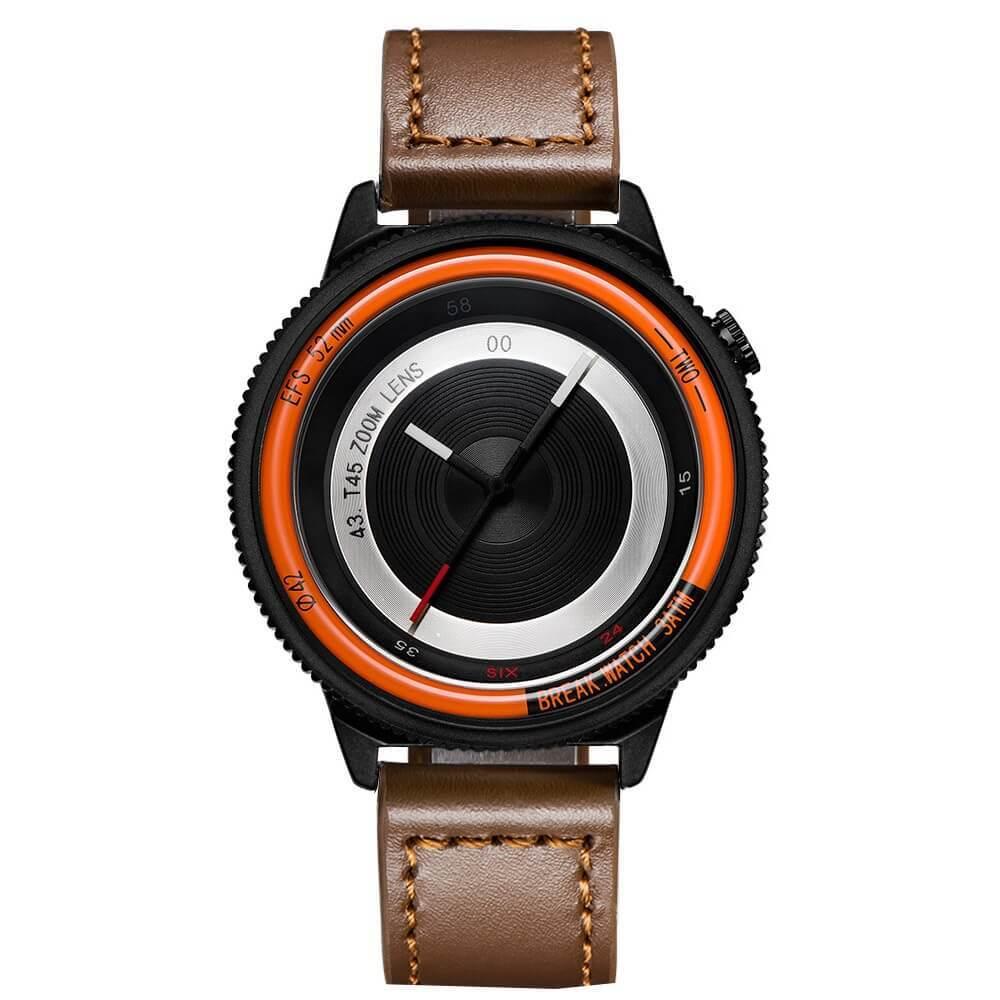 Lens Orange Break Watches Brown Leather Straps.jpg