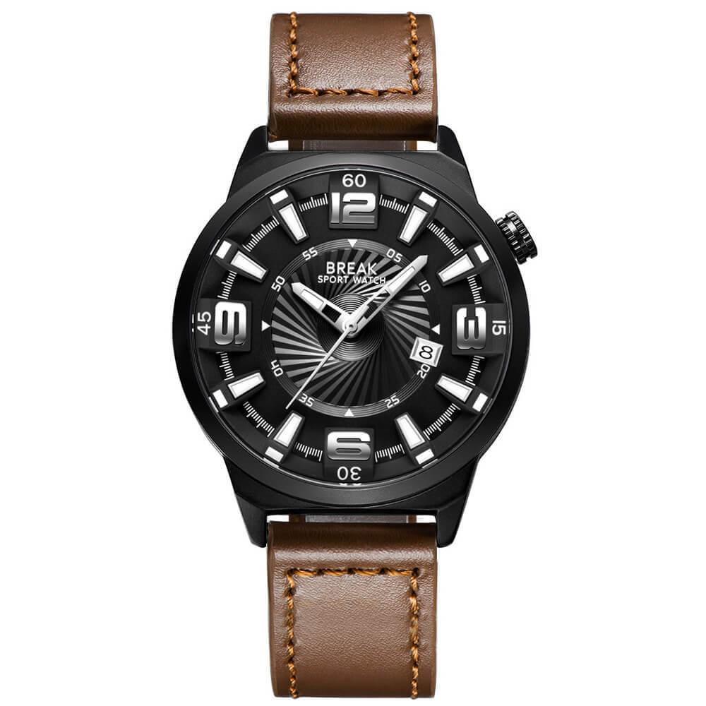 Shutter Break Watches Black Brown Leather Straps.jpg