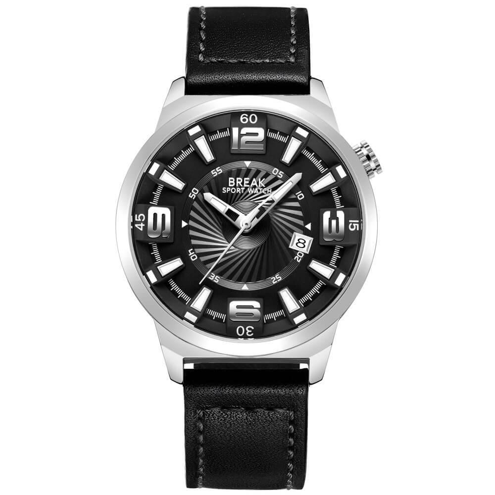 Shutter Break Watches Sliver Black Leather Straps.jpg