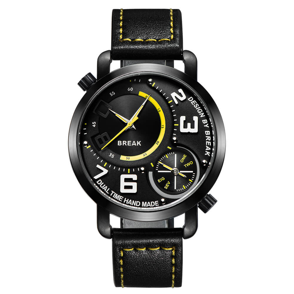 Dual Break Watches yellow dial black leather.jpg