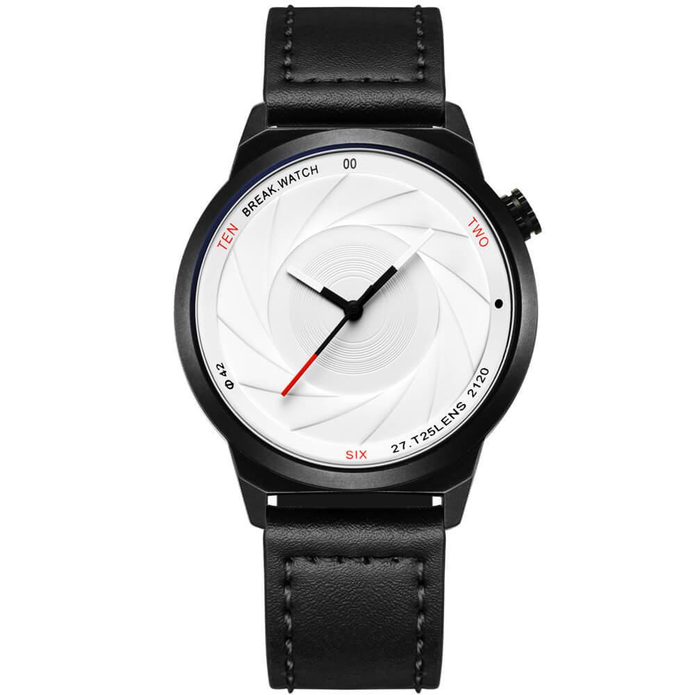 Zoom White Break Watches black leather straps.jpg