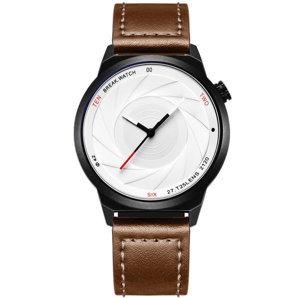 Zoom White Break Watches brown leather straps.jpg