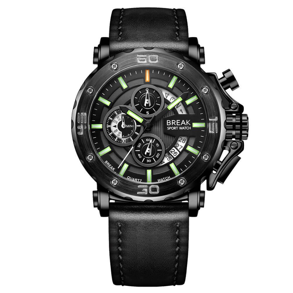 Ranger Break Watches Black Leather green pointer.jpg