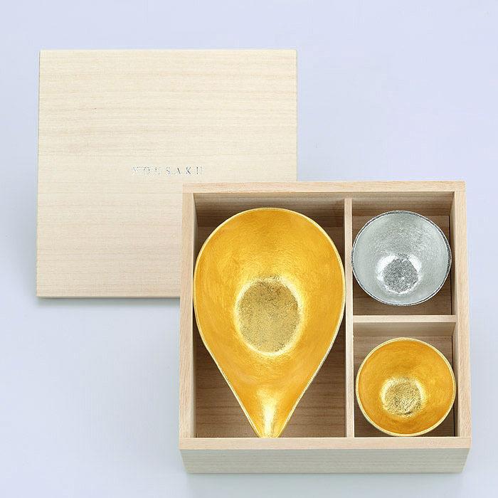 富山-能作nousaku- 金箔片口盅鳥嘴杯片口杯茶海 - L  + 純錫 · 金箔清酒杯木盒組.jpeg