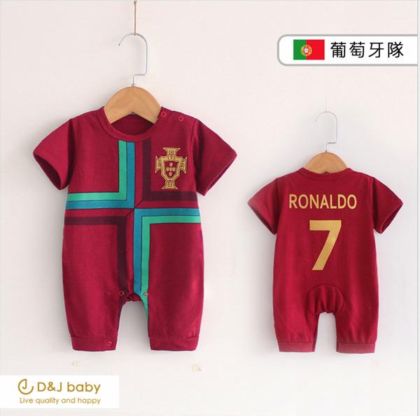 2018世界杯足球賽葡萄牙隊短袖包屁衣 - D&J baby.jpg