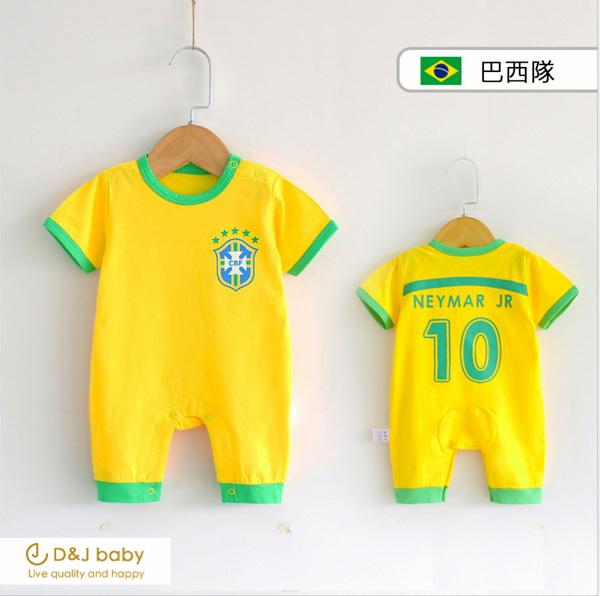 2018世界杯足球賽巴西隊短袖包屁衣 - D&J baby.jpg