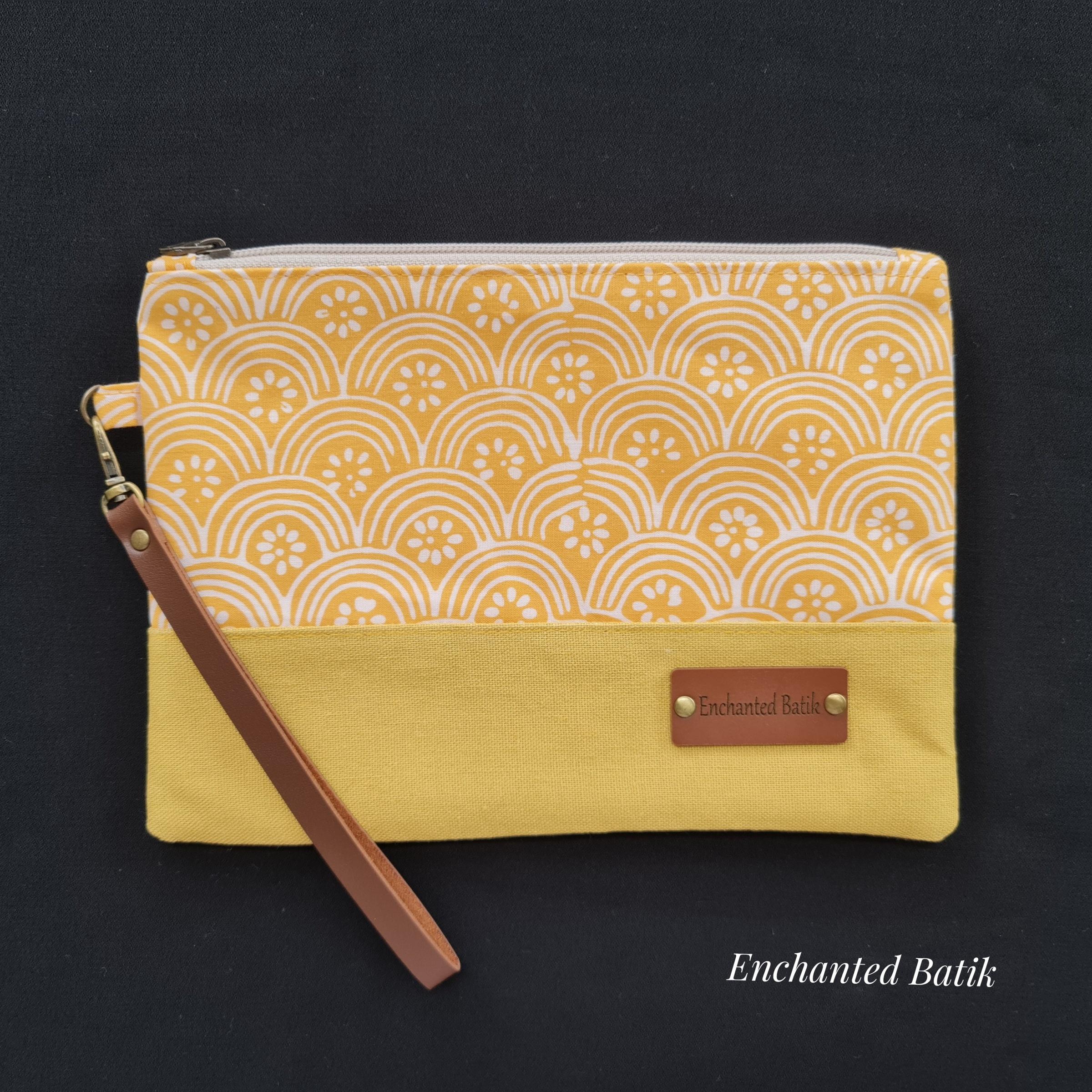 Batik wristlet yellow