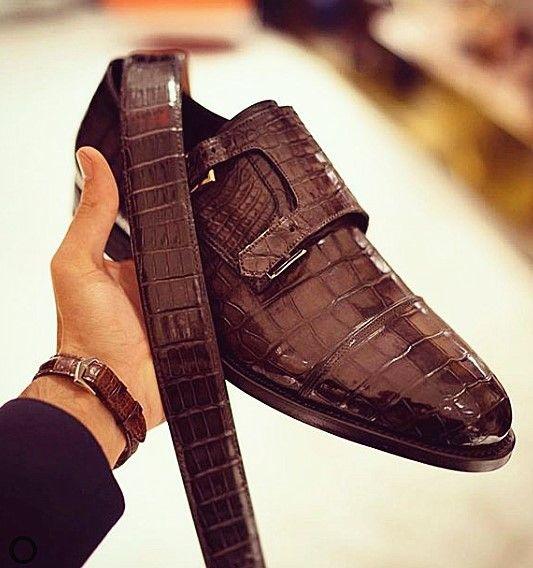 Men's Alligator Leather Double Buckle Monk Strap….jpg