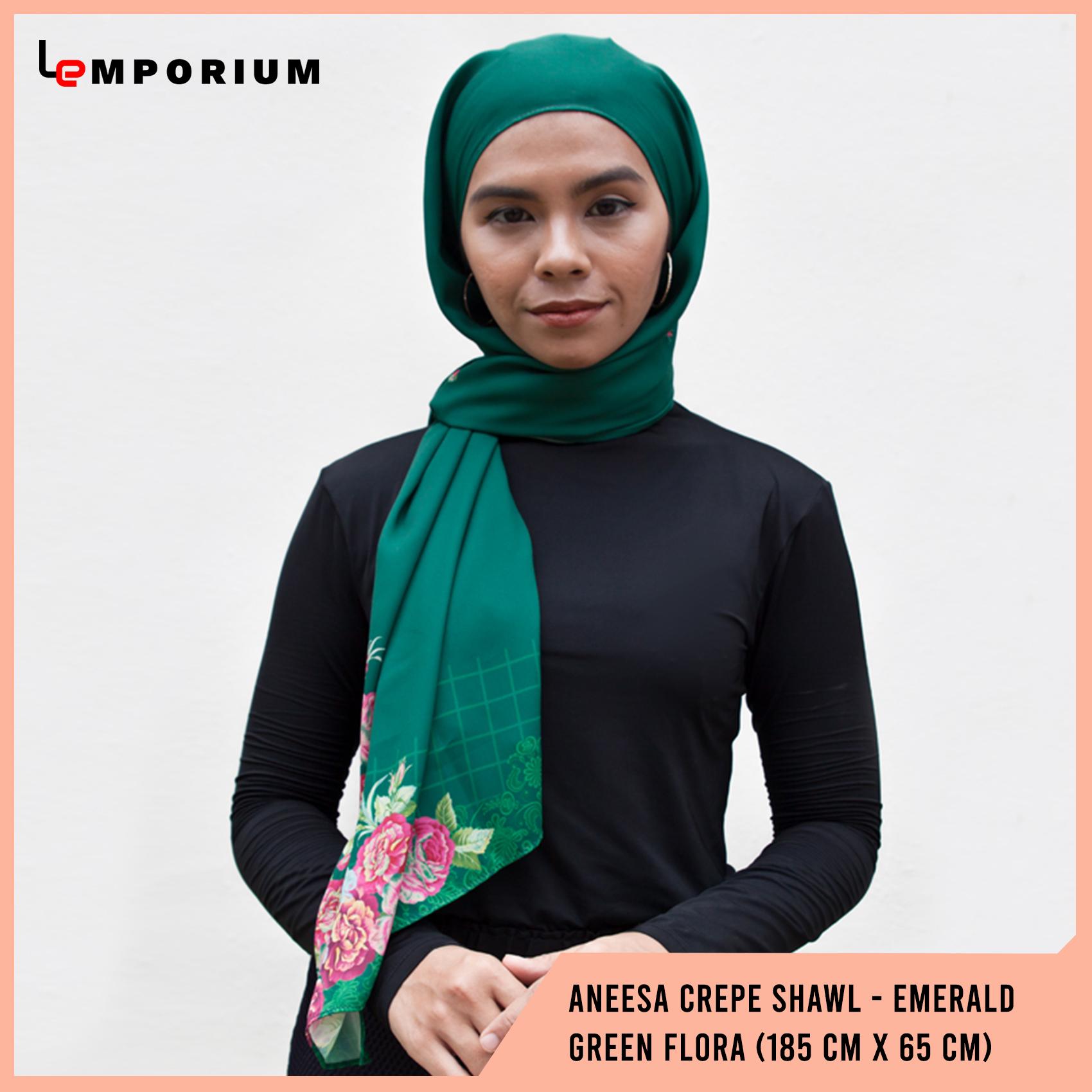 ANEESA-Crepe-Shawl---Emerald-Green-Flora-(185-cm-x-65-cm).jpg