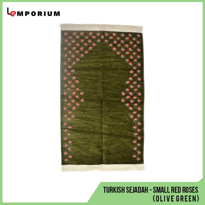 _0003_#14 - Turkish Sejadah - Small Red Roses (Olive Green).jpg