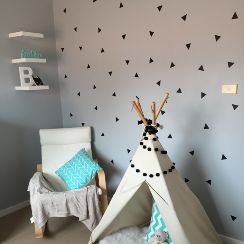 Small, Black Triangle Wallpaper Mirror Acrylic Decorative Wall Sticker Childrens Room Nursery Bedroom Living Room Removable Sticker