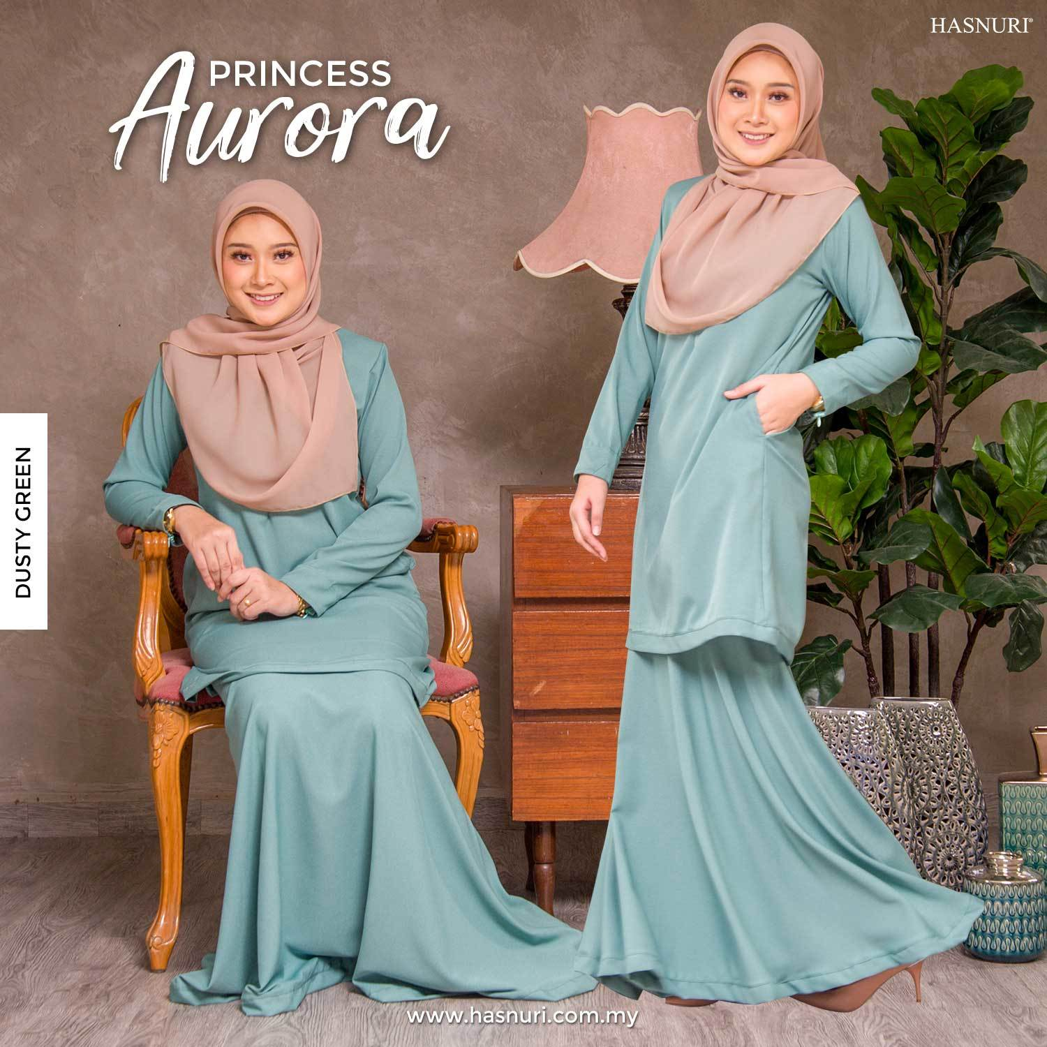 KURUNG PRINCESS AURORA-DUSTY GREEN, SS