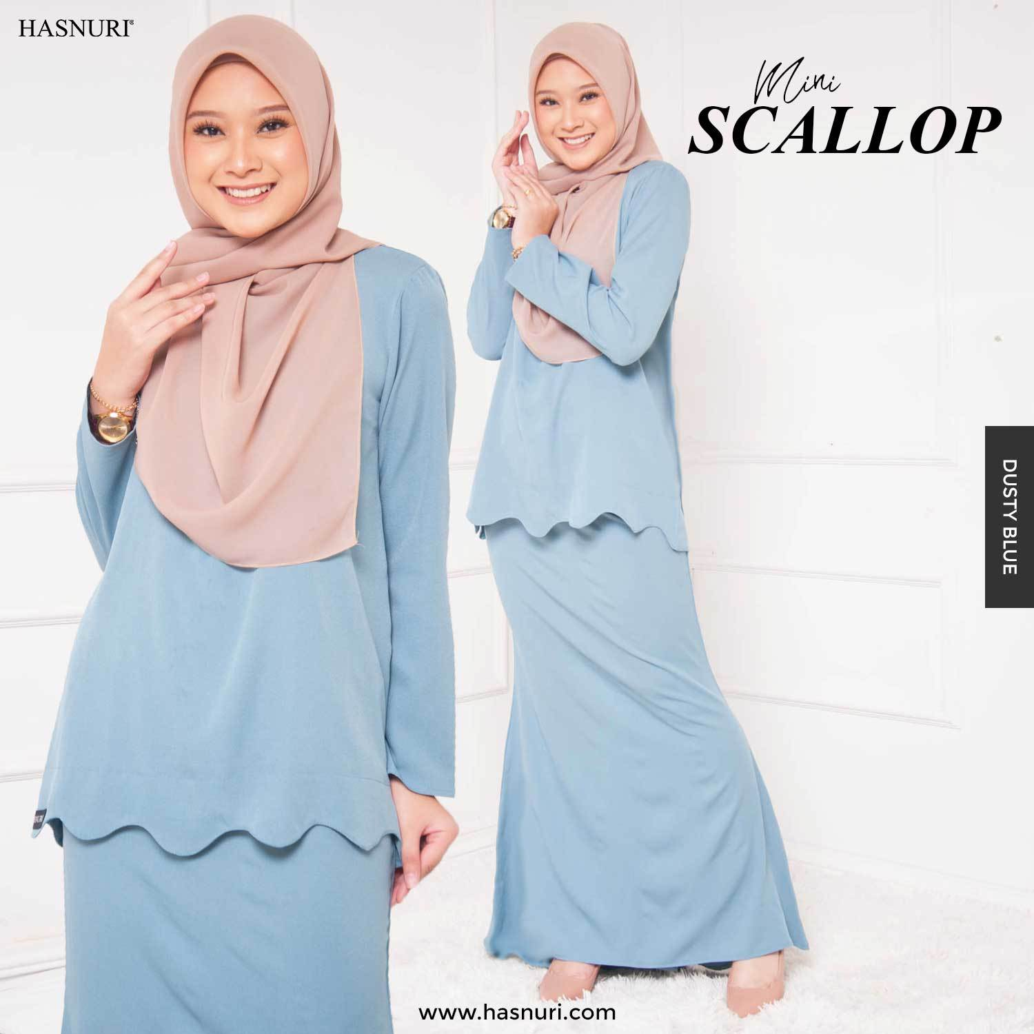 KURUNG MINI SCALLOP-DUSTY BLUE, SS