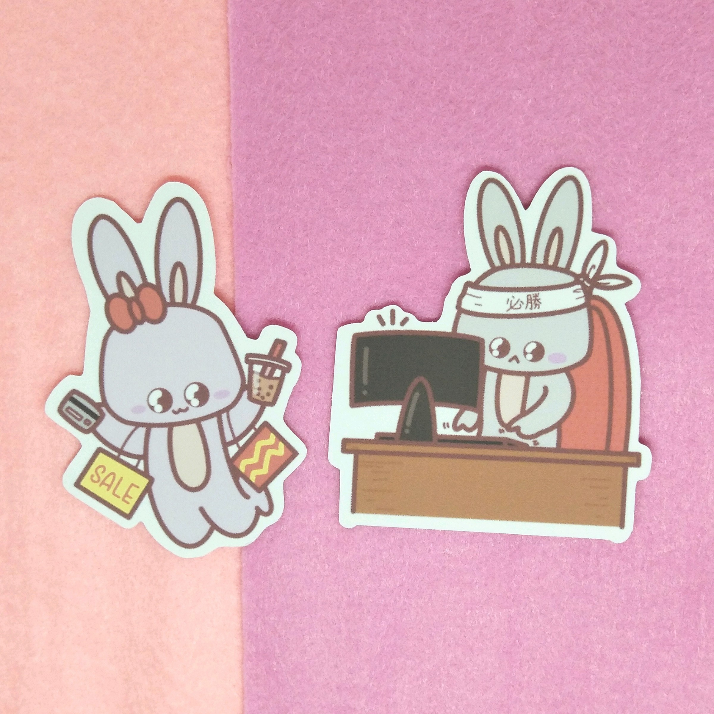 Shopaholic and workaholic stickers.jpg