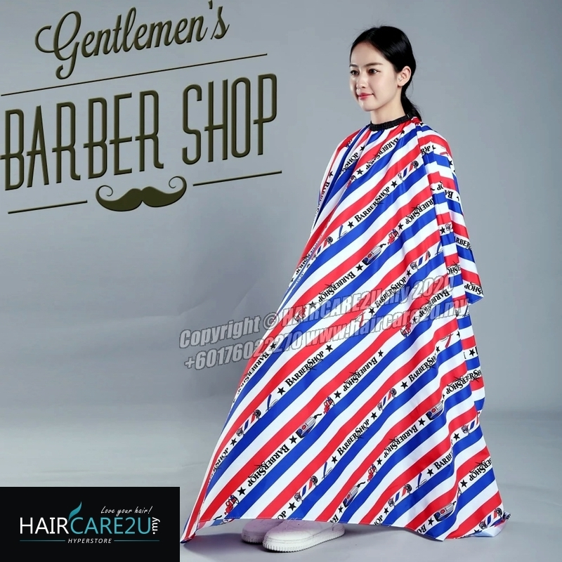 Red Blue Stripes BarberShop Hair Cutting Cloth Barber Salon Cape.jpg