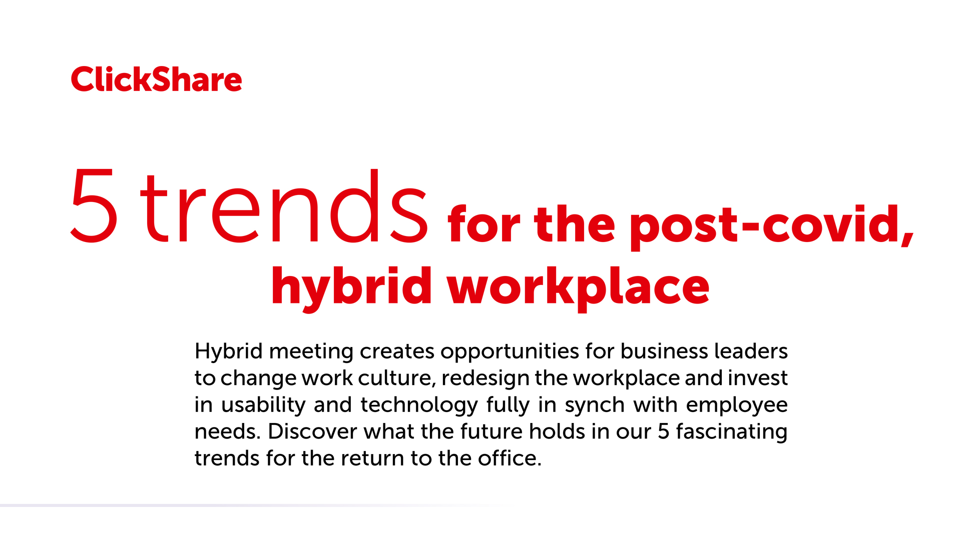 5 trends for the post-COVID hybrid workplace