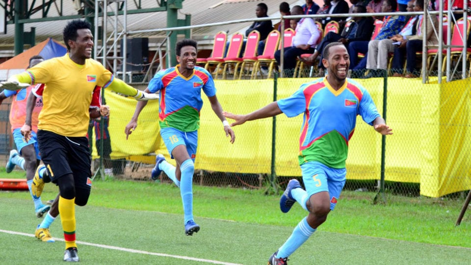 Eritrea national team players celebrating after the final whistle