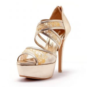 Gold strappy lace wedding heels