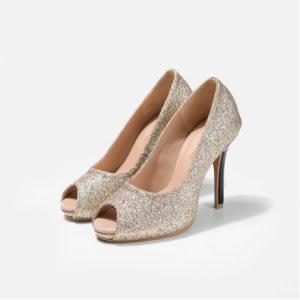 Glitter peep toe bridal pumps