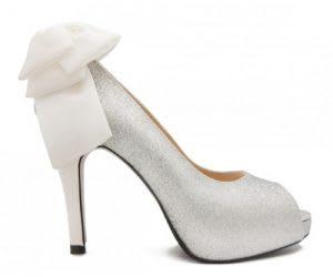 Silver designer wedding shoes