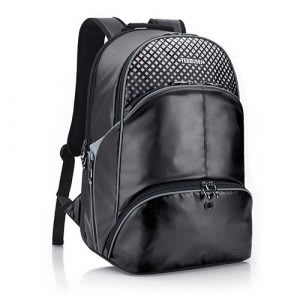 Black water-resistant gym bag with shoe compartment