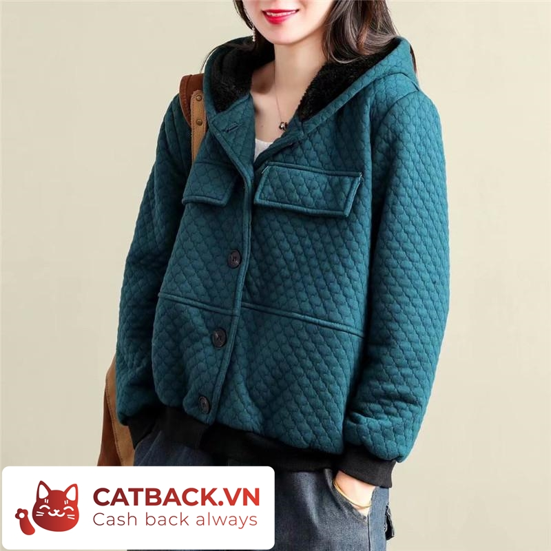 Hot trend năm nay - Mẫu áo khoác hút mắt có mũ, bo gấu tay