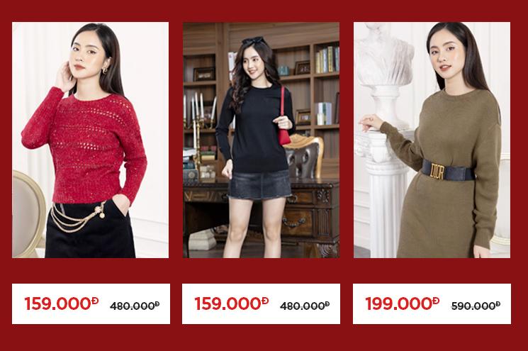 Thời trang YES24 - sản phẩm áo/đầm len ngày lập đông Sale đồng giá 159.000 VNĐ